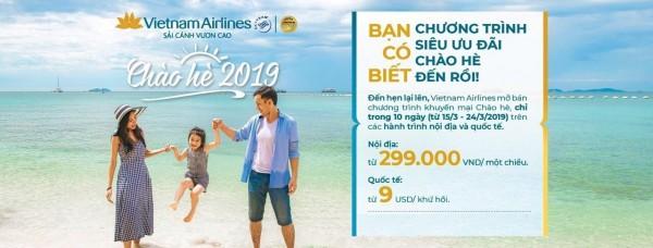 Vietnam Airlines chào hè 2019 giá vé chỉ từ 299,000đ