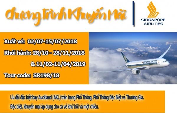 """Hãng Hàng không Singapore Airlines (SQ) TRIỂN KHAI """"Khuyến mãi bay Auckland, xuất vé  trước ngày 15/07/2018"""""""