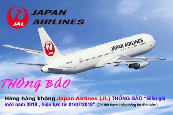 Hãng Hàng không Japan Airlines (JL) THÔNG BÁO Biểu giá mới năm 2018