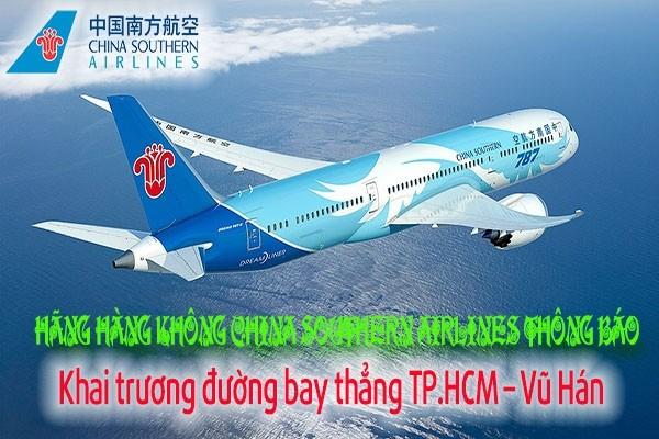 China Southern Airlines thông báo Khai trương đường bay thẳng TP.HCM–Vũ Hán
