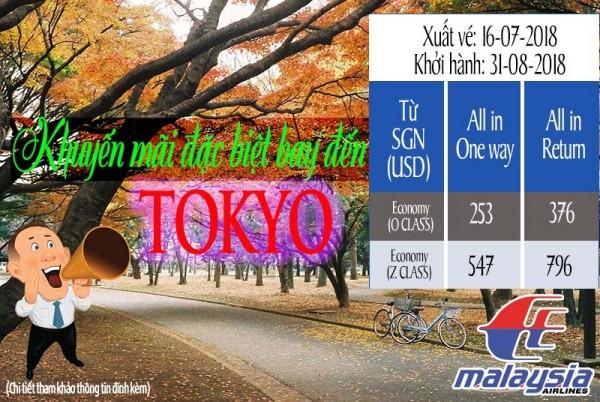Hãng Hàng không Malaysia Airlines khuyến mãi đặc biệt bay đến Tokyo