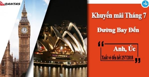 """Hãng Hàng không Qantas (QF) TRIỂN KHAI """"Khuyến mãi đi Anh và Úc tháng 7"""