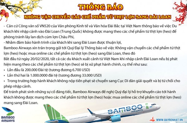 BAMBOO AIRWAYS – THÔNG BÁO KHÔNG VẬN CHUYỂN CÁC CHẾ PHẨM TỪ THỊT LỢN SANG ĐÀI LOAN