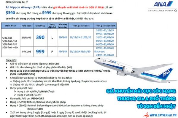 All Nippon Airway triển khai giá khuyến mãi cực sốc hạng thương gia & phổ thông từ SGN đến Nhật