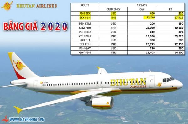 Bhutan Airlines Triển khai bàng giá 2020