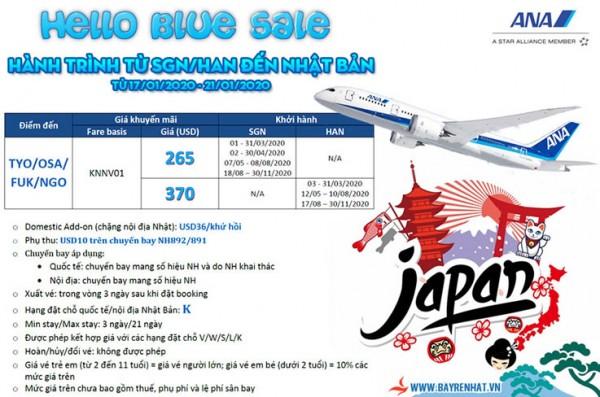 All Nippon Airways Triển khai Hello Blue Sale đi Nhật