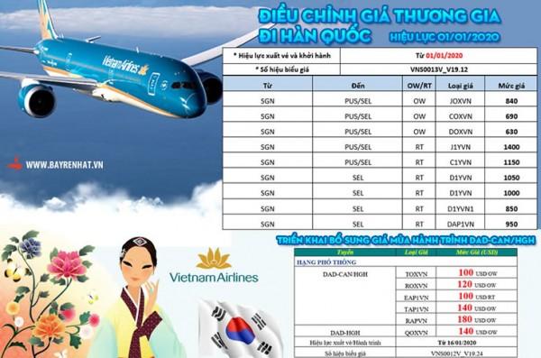 Vietnam Airlines Điều chỉnh giá thương gia đi Hàn Quốc