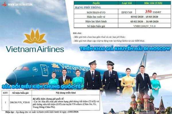 Vietnam Airlines triển khai giá vé khuyến mãi đến Mosscow
