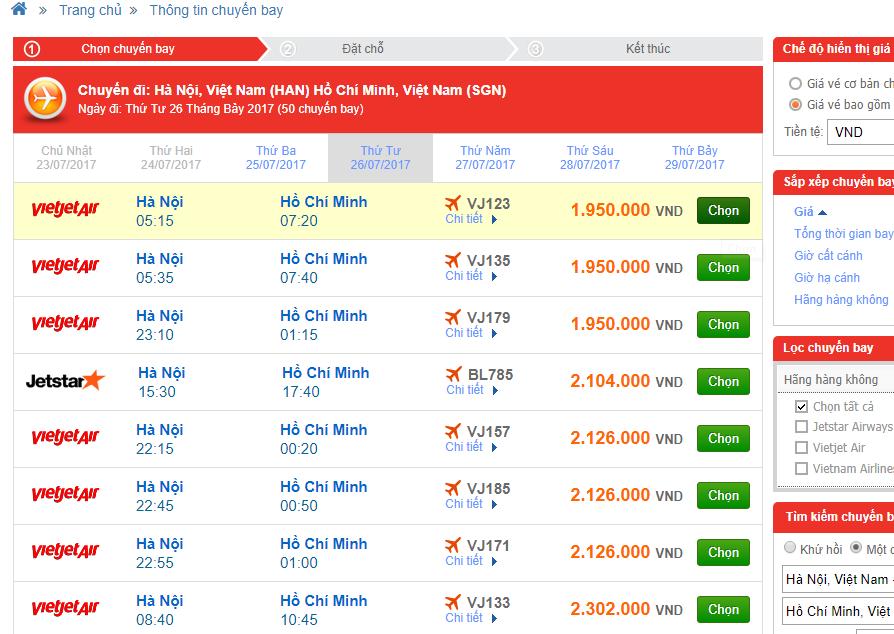 So sánh giá vé nội địa abay